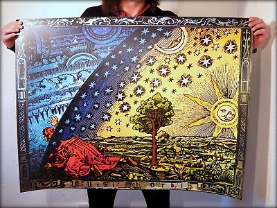 FLAMMARION ENGRAVING 1888: Psychedelic Flat Earth Poster Print of Firmament Dome