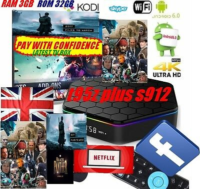 T95Z Plus S912 3GB+32GB Octa Core Android 6.0 TV Box KODI 17 2.4/5Ghz Dual WIFI