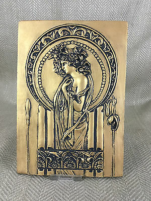 Art Nouveau Style Wall Plaque Art Gold Decorative Hanging Mucha Lady Girl Cast