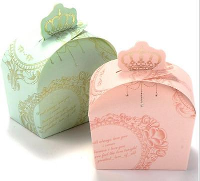 50Pcs Wedding Favor Candy Boxes Royal Crown Design Wedding Birthday Pink Gift
