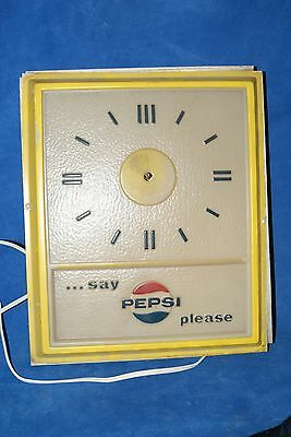 Yellow Pepsi clock, hands not attached, but come with clock