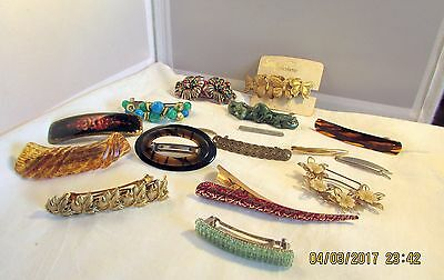 Stunning Lot Of 17 Striking Barrettes........some Made In France