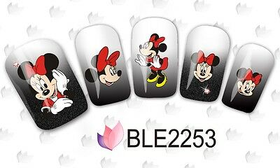 Nail Art Water Decals Stickers RED Mickey Mouse Minnie Mouse Bows (2253)