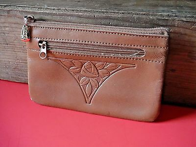 ROLFS Genuine Leather Embossed Money Pouch Wallet Vintage Brown