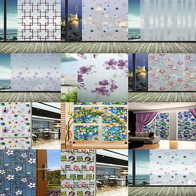 Static Cling Frosted Stained Flower Glass Window Film Sticker Privacy Home D #NS