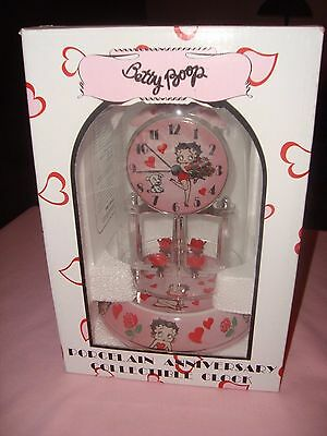 Betty Boop Porcelain Anniversary Clock in Box Glass Dome Hearts & Flowers