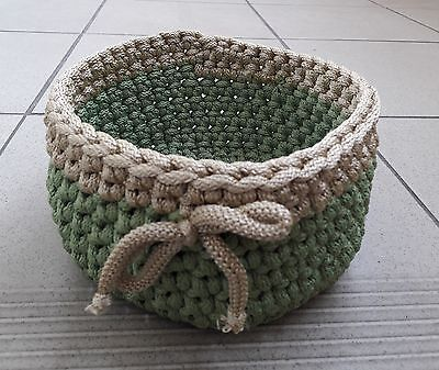 A Handmade Crocheted Box / Bowl / Basket / Container / Tray Of Polyester