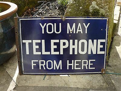 """Vintage Enamel Double Sided """"You May Telephone From Here"""" Sign"""