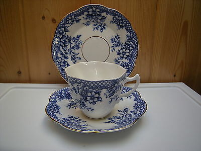 Vintage Rosina Trio-- Cup-- Saucer-- Plate-- Cobalt Blue and White Floral Trio