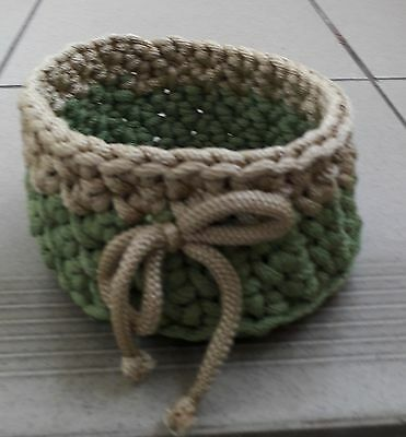 A Handmade Crocheted Box/ Bowl/ Basket/ Container/ Tray Of Polyester