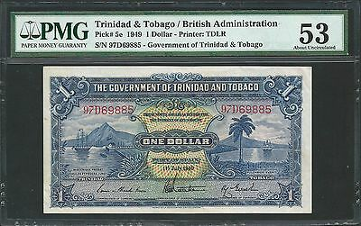Trinidad & Tobago 1949 P-5e PMG About UNC 53 1 Dollar *Scarce Date*