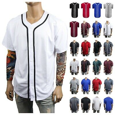 Men's Baseball Jersey Raglan T Shirt Button Mesh Sports Fashion Hip Hop Jacket
