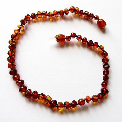 Genuine Baltic amber necklace child children baby to teen size, big cognac beads