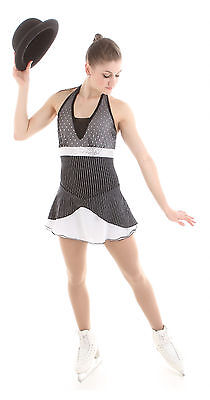 New Competition SKating Dress Elite Xpression Black Silver Pinstripes  AL LARGE
