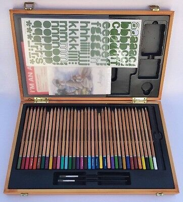Wooden Artists Drawing Box - Pencils Watercolours Stickers and Pads