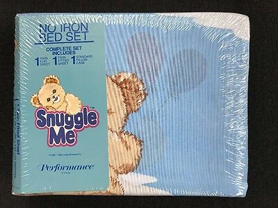 Vintage Snuggle Me Twin Size Bed Sheets Fabric Softener Bear Mascot NOS Sealed