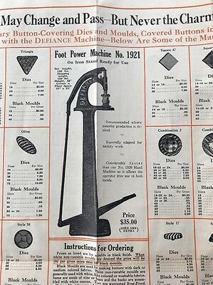 Vintage Brochure Defiance Button Machine Hand Foot Powered Covered Buttons 1929