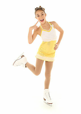 New Competition Skating Dress Elite Xpression 1343 CL 10-12 Yellow Foil Lace