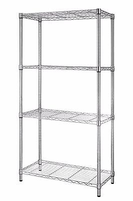 Steel Wire Shelving Metal Storage Rack by eeZe Rack, 30x14x60 Inches Chrome/Gray