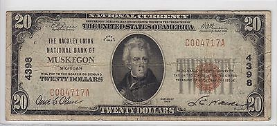 Hackley Union National Bank of Muskegon, MI $20 Note Charter 4398 C004717A