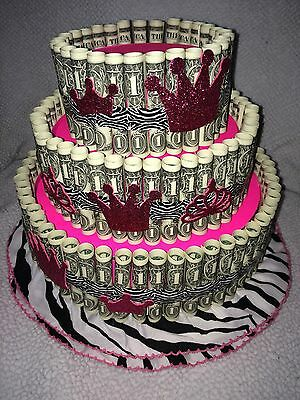 Pink Money Cake_Made with REAL MONEY gift for birthday_graduation_baby shower