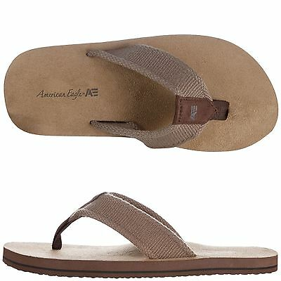 Mens Brown American Eagle Flip Flops Sandals Canvas/leather 11 12 13 14 15   New