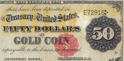 rare (53 known) 1882 $50 Gold Certificate Fr # 1195 that's PMG 15 (net) graded
