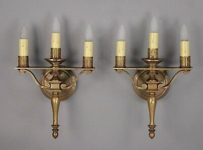Pair 1920s Three Light Brass Sconces by Caldwell Co Vintage Antique (10133)