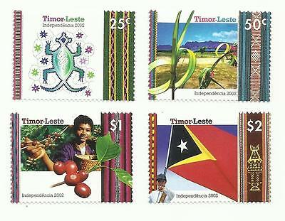 East Timor 2002 - Independence Day - Crocodile, palm, coffee, flag set MNH