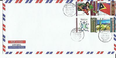 East Timor 2002 - Cover set Independence Day - Crocodile, palm, coffee, flag