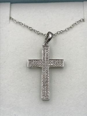 Diamond Cross Pendant 14K White Gold Plated Sterling Silver 925 With Chain