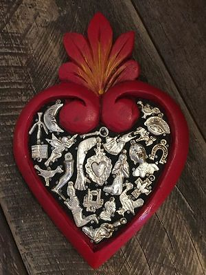 Wooden Heart with Milagros from Mexico