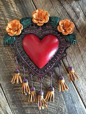 Tin Heart with Flower and Tassels from Mexico