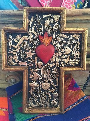 Wooden Cross with Milagros from Mexico