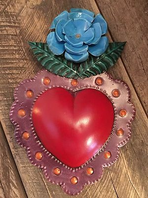 Tin Heart with Flower from Mexico