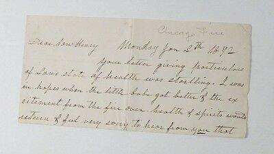 CHICAGO FIRE named 1872 hand written LETTER REMNANT sick BABY Father n Son