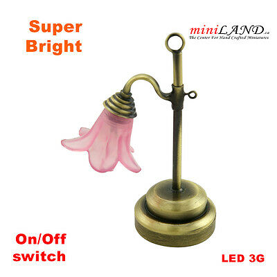 Pink table Bright battery LED LAMP Dollhouse miniature light 1:12 on/off switch