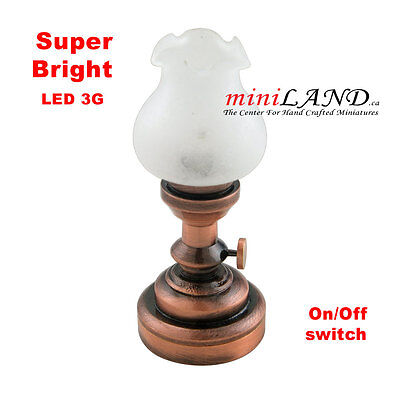 Copper Bright battery LED LAMP Dollhouse miniature light 1:12 on/off switch