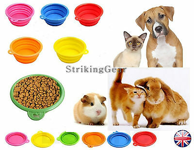 Dog Cat Pet Collapsible Feeding Bowl Plate Dish Silicone Rubber * 6 Colours * UK