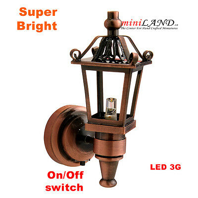 Copper Carriage bright LED LAMP Dollhouse miniature light on/off battery 1:12
