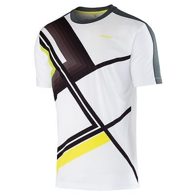 New Head Mens Brandon T-Shirt White/Anthrazite Tennis Shirt Size Small