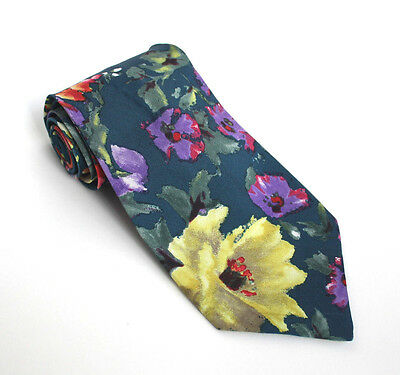 Vintage D'AZUR Mens Neck Tie~ Retro Bright Floral Print~Free Post AU