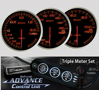 DEFI ADVANCE BF Triple Gauge Set Red (Boost/Oil Temp/Oil Press/Control Unit)