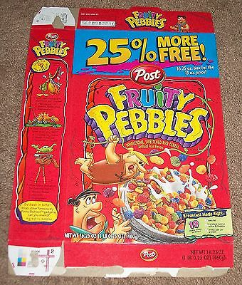 Large 2002 Flintstones Fruity Pebbles 25% More Free! Cereal Box Flat Cool Art
