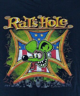 Vintage RAT FINK Iron Cross Shirt RATS HOLE Size Large