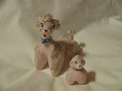 Vintage Pink Gold Ceramic Spaghetti Poodle Dog Figurine Mom and Pup 1950's