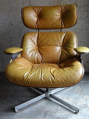 Mid-Century Selig Plycraft Eames ERA Leather Walnut Lounge Chair