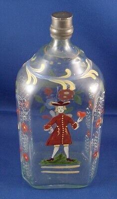 Antique Biedermeier German Glass Bottle Stiegel Valentine's Day Scene Scenic