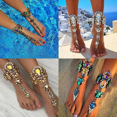 Punk Lady Crystal Anklet Chain Toe Ring Ankle Barefoot Sandal Beach Foot Jewelry