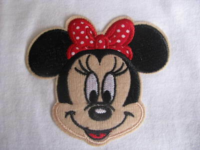 minnie mouse face girl iron on applique patch embroidered embellishment red med